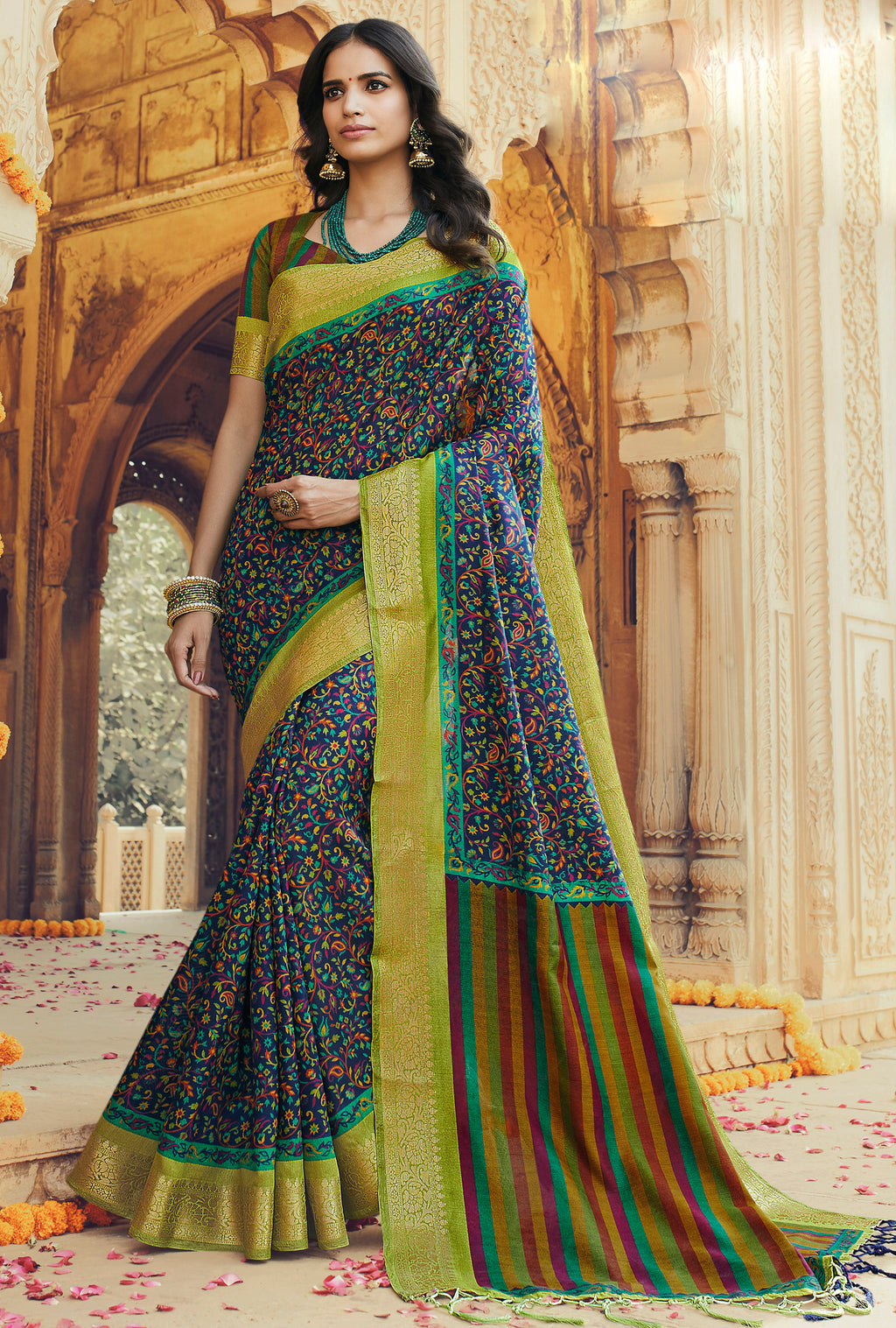 Multi Color Art silk Festival & Function Wear Sarees NYF-9522