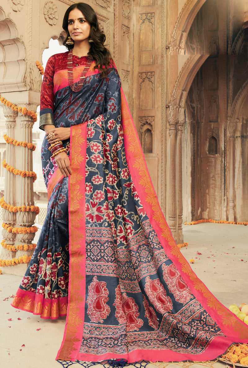 Grey Color Art silk Festival & Function Wear Sarees NYF-9524