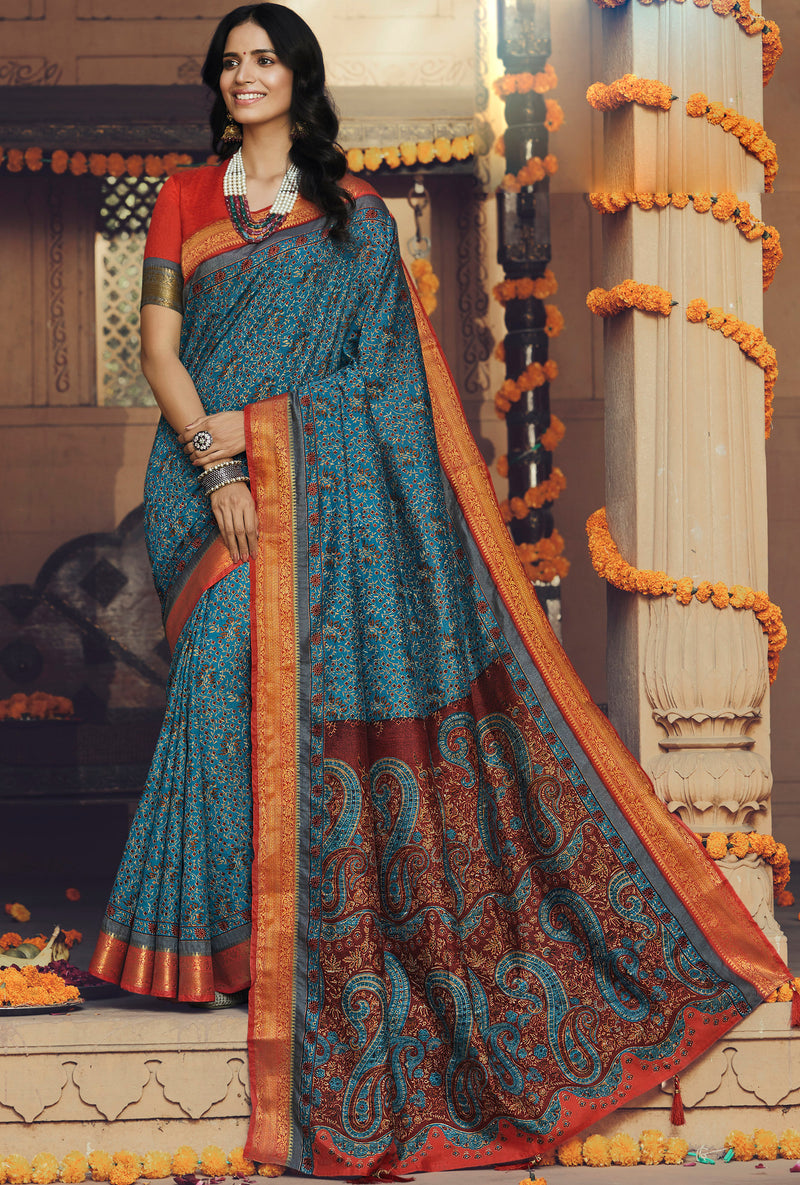 Blue Color Art silk Festival & Function Wear Sarees NYF-9528