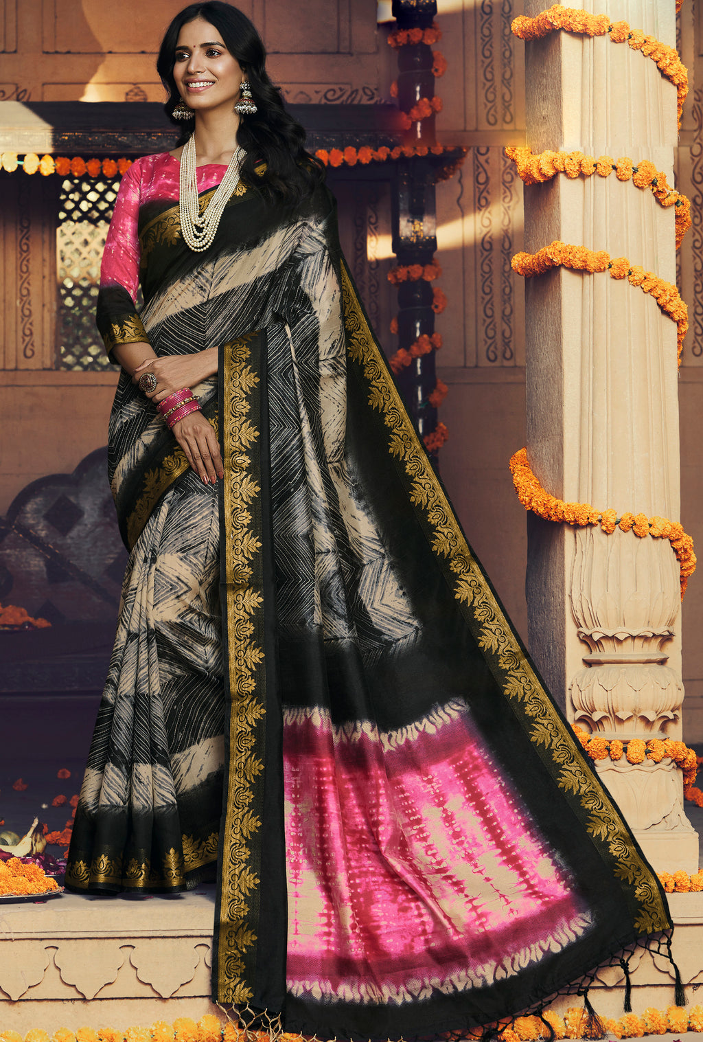 Black Color Art silk Festival & Function Wear Sarees NYF-9529