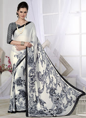 Off White & Grey Color Crepe Casual Wear Sarees : Likhita Collection  YF-47956