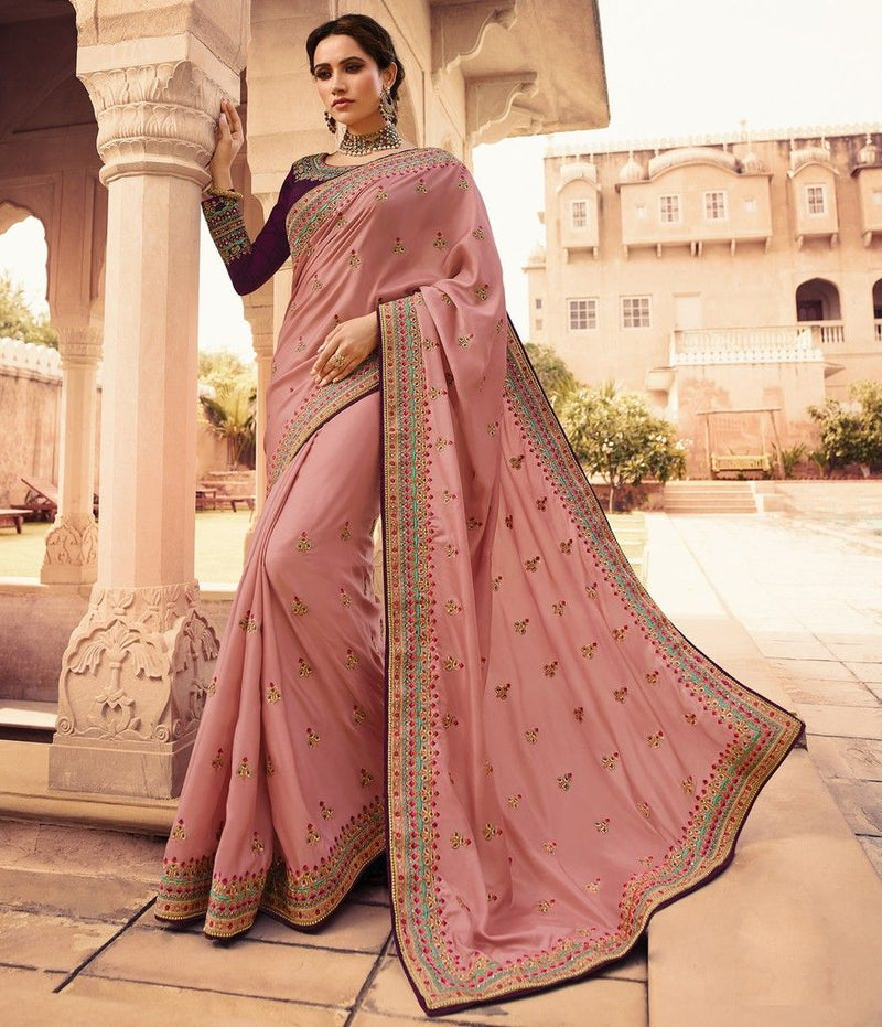 Peach Color Crepe Silk Designer Wedding Wear Sarees : Sunehra Collection  NYF-1475 - YellowFashion.in