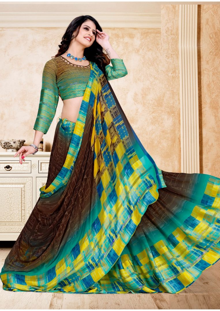 Brown Color Georgette Digital Print Sarees NYF-3934 - YellowFashion.in