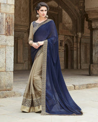 Light Coffee & Blue Color Wrinkle Chiffon Wedding Function Sarees : Piyabavri Collection  YF-41659
