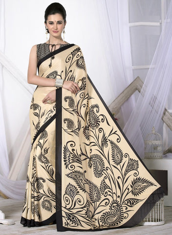 Light Coffee & Black Color Crepe Casual Wear Sarees : Likhita Collection  YF-47957