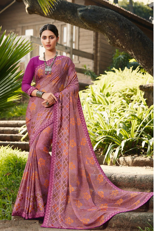 Rani Pink Color Brasso Party Wear Saree- Tiara Collection YF#10143