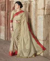 Golden & Red Color Half Shimmer Georgette Foil & Half Smart Net Wedding Function Sarees : Piyabavri Collection  YF-41660