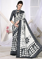 Off White & Black Color Crepe Casual Wear Sarees : Likhita Collection  YF-47958