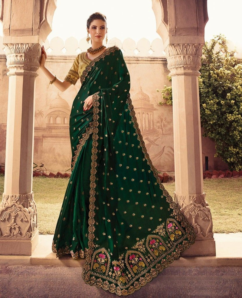 Bottle Green Color Raw Silk Designer Wedding Wear Sarees : Sunehra Collection  NYF-1477 - YellowFashion.in