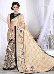 Light Peach & Black Color Crepe Casual Wear Sarees : Likhita Collection  YF-47959