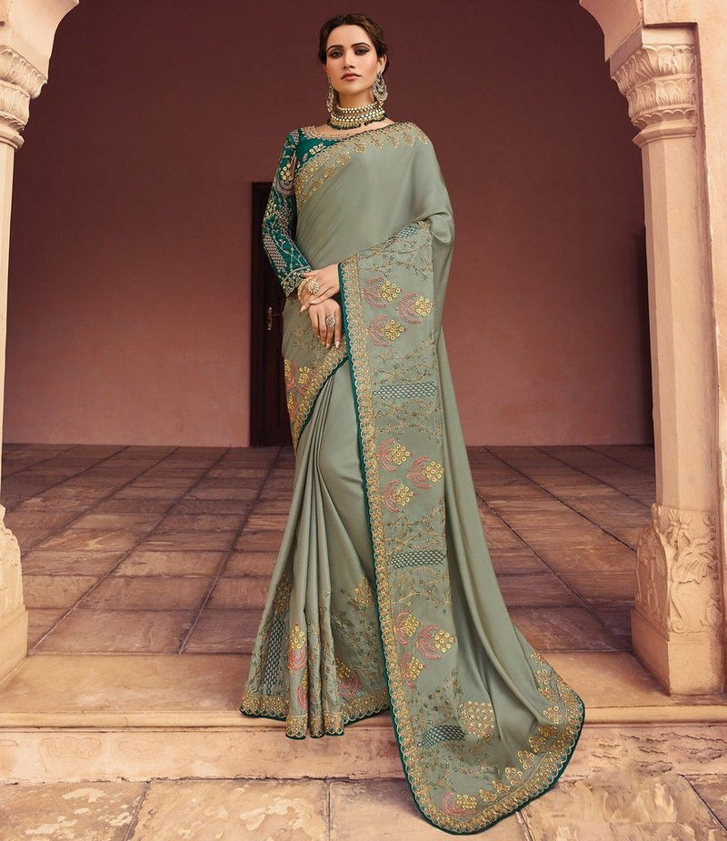 Grey Color Crepe Silk Designer Wedding Wear Sarees : Sunehra Collection  NYF-1478 - YellowFashion.in