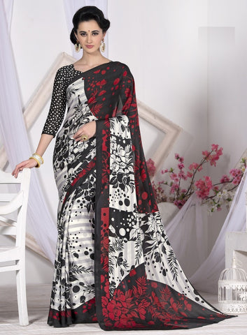 White, Black & Red Color Crepe Casual Wear Sarees : Likhita Collection  YF-47960