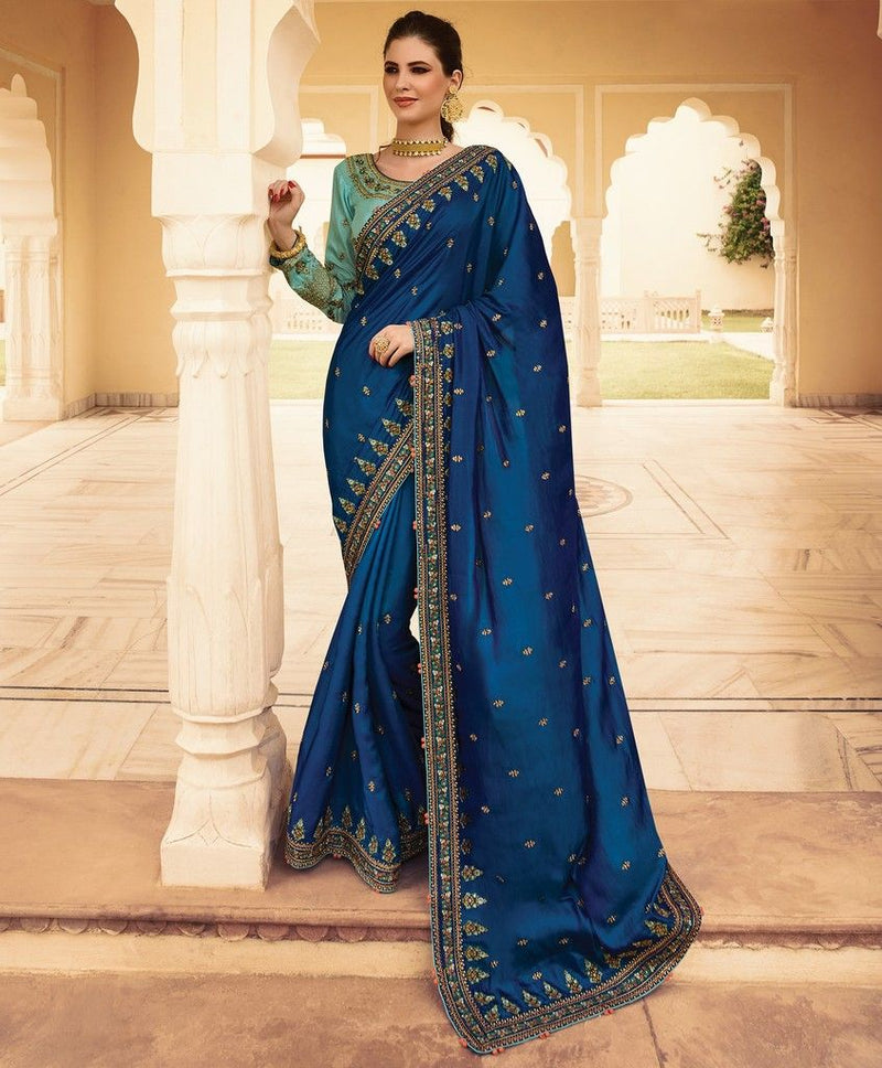 Ink Blue Color Crepe Silk Designer Wedding Wear Sarees : Sunehra Collection  NYF-1479 - YellowFashion.in