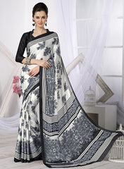 Off White & Grey Color Crepe Casual Wear Sarees : Likhita Collection  YF-47961