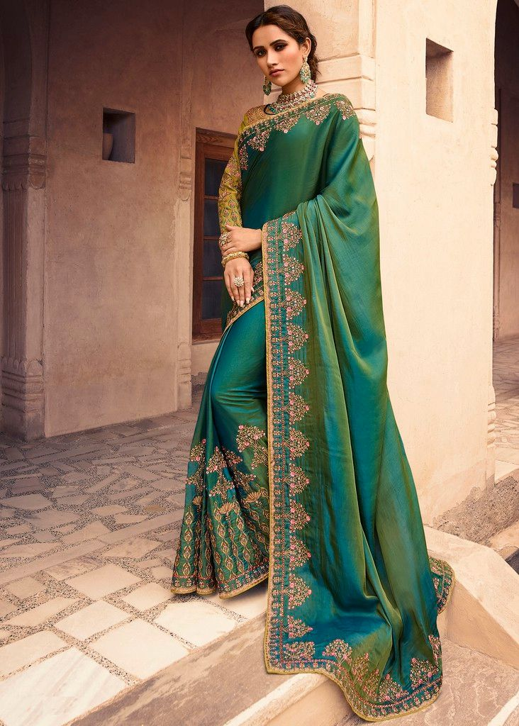Green Color Crepe Silk Designer Wedding Wear Sarees : Sunehra Collection  NYF-1480 - YellowFashion.in