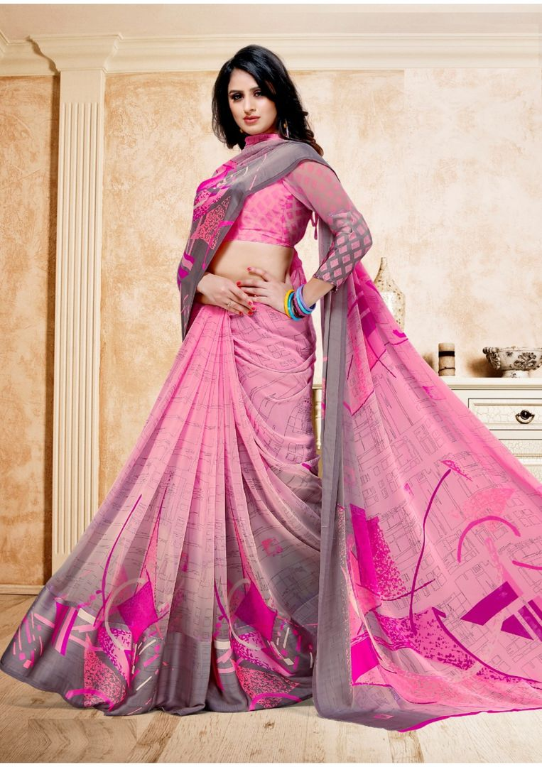 Pink Color Georgette Digital Print Sarees NYF-3939 - YellowFashion.in