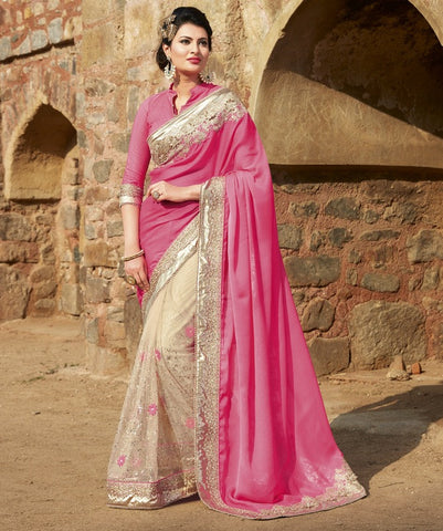 Pink & Cream Color Half Net & Half Crepe Wedding Function Sarees : Piyabavri Collection  YF-41664