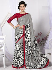 White & Black Color Crepe Casual Wear Sarees : Likhita Collection  YF-47962
