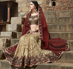 Golden & Maroon Color Half Smart Net & Half Georgette Wedding Function Sarees : Piyabavri Collection  YF-41665