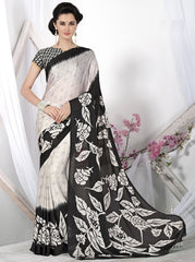 Off White & Black Color Crepe Casual Wear Sarees : Likhita Collection  YF-47963