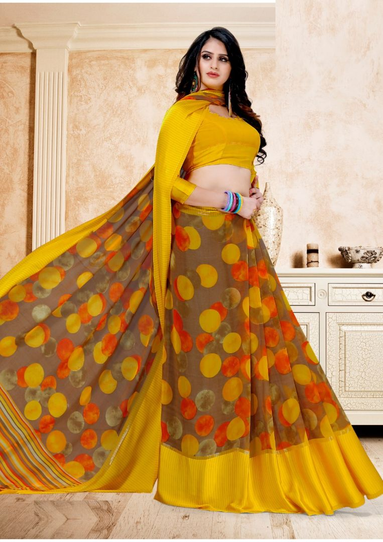 Beige & Yellow Color Chiffon Polka Dots Sarees NYF-3941 - YellowFashion.in