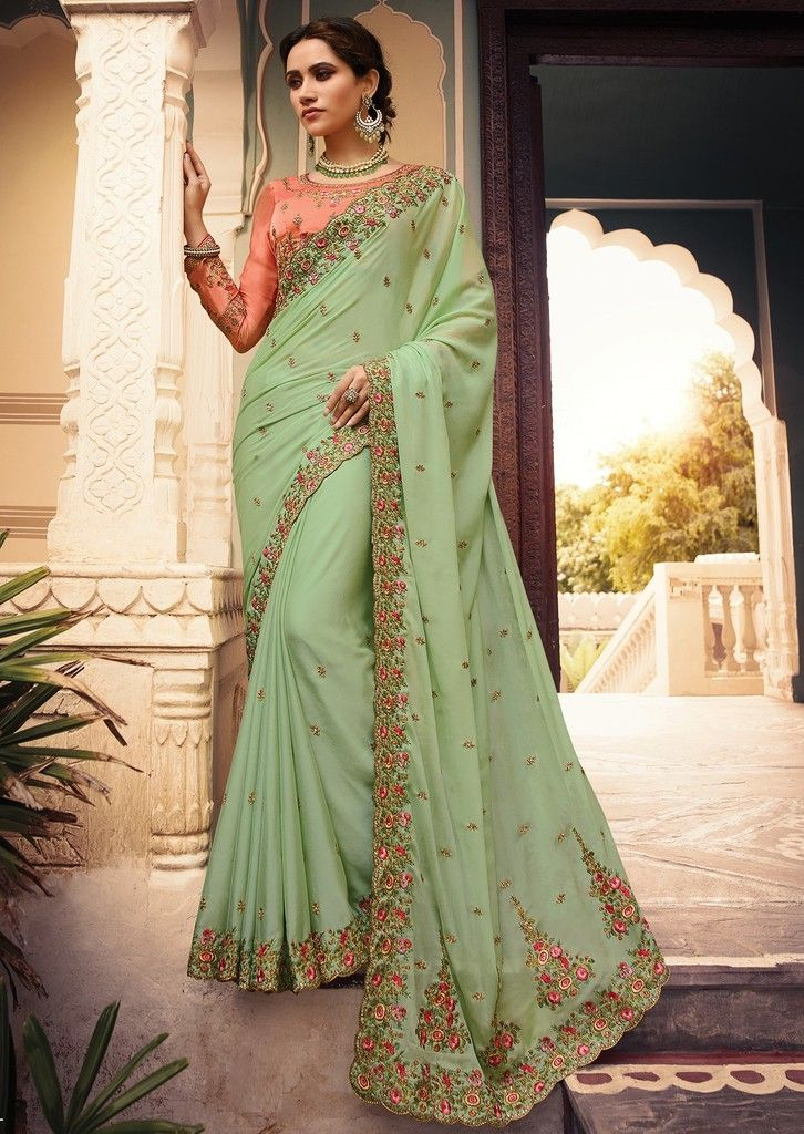 Pastel Green Color Art Silk Designer Wedding Wear Sarees : Sunehra Collection  NYF-1482 - YellowFashion.in