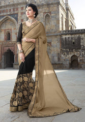 Black & Light Coffee Color Half Wrinkle Chiffon & Half Georgette Wedding Function Sarees : Piyabavri Collection  YF-41666