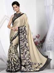 Light Coffee Color Crepe Casual Wear Sarees : Likhita Collection  YF-47964