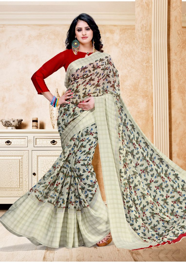 Off White Color Chiffon Floral Print Sarees NYF-3942 - YellowFashion.in