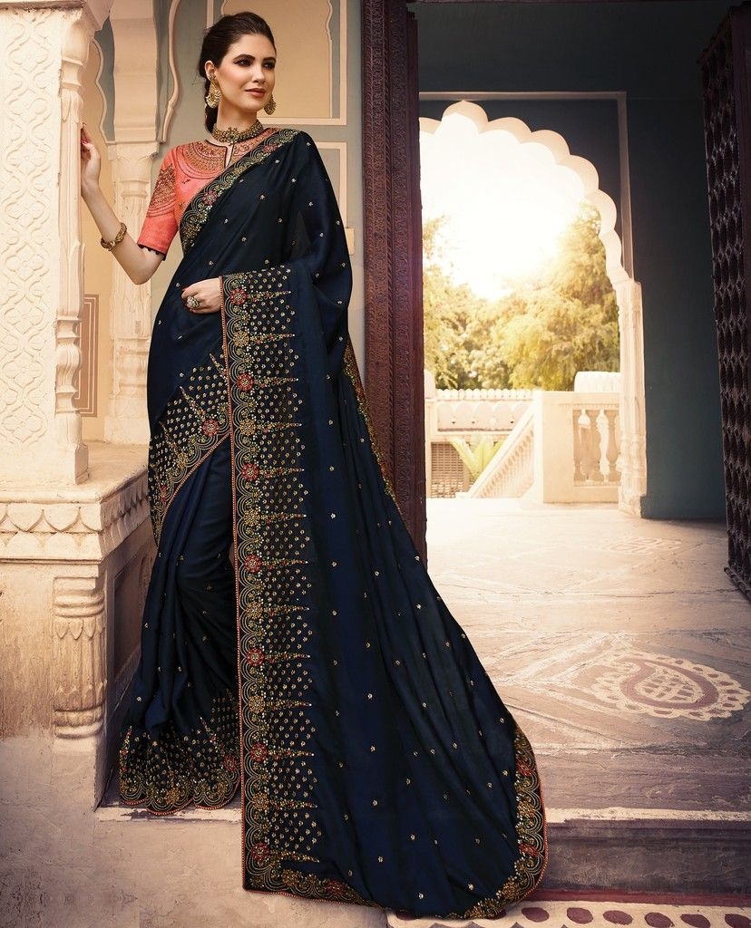 Blue Color Art Silk Designer Wedding Wear Sarees : Sunehra Collection  NYF-1483 - YellowFashion.in