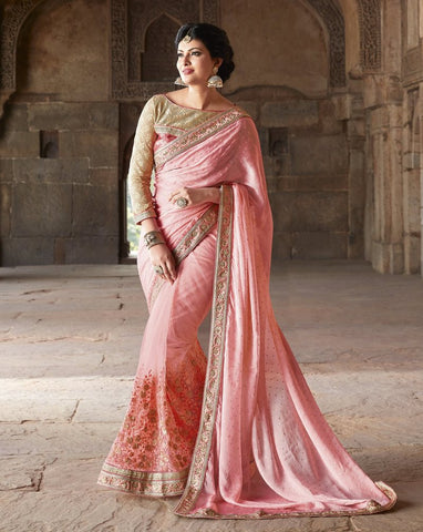 Pink Color Half Net & Half Wrinkle Chiffon Wedding Function Sarees : Piyabavri Collection  YF-41667