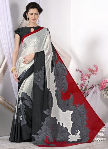 Black, Red & Off White Color Crepe Casual Wear Sarees : Likhita Collection  YF-47965