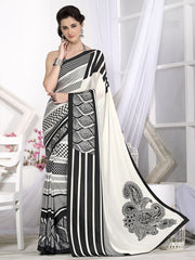 Off White & Black Color Crepe Casual Wear Sarees : Likhita Collection  YF-47967