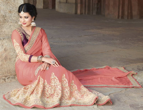 Pink Color Wrinkle Chiffon Wedding Function Sarees : Piyabavri Collection  YF-41670