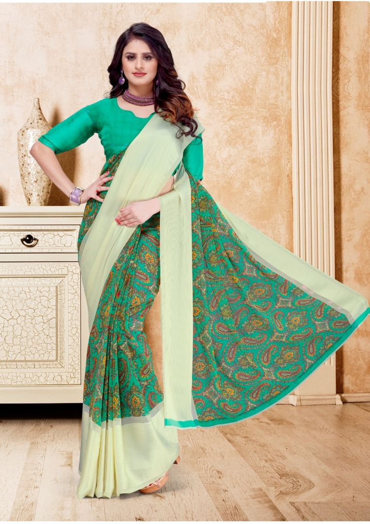 Green Color Georgette Casual Printed Sarees NYF-3946 - YellowFashion.in