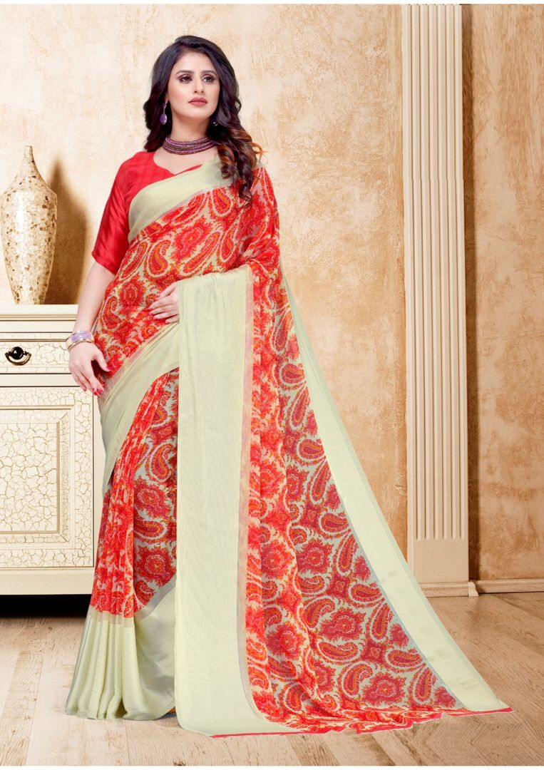 Sindoori Color Georgette Casual Printed Sarees NYF-3950 - YellowFashion.in