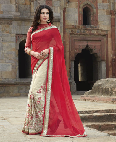 Red & Off White Color Half Net & Half Wrinkle Chiffon Wedding Function Sarees : Piyabavri Collection  YF-41675