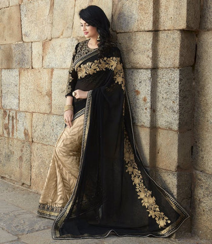 Black & Beige Color Half Smart Net & Half Georgette Wedding Function Sarees : Piyabavri Collection  YF-41676