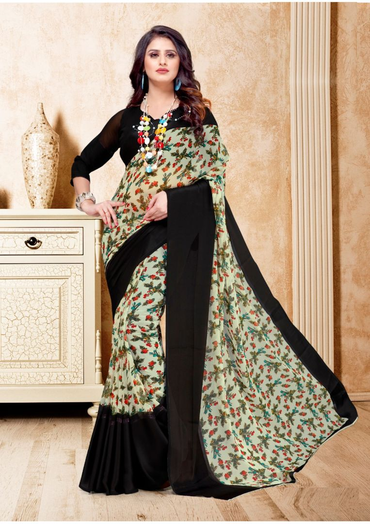 Black & Cream Color Georgette Floral Print Sarees NYF-3952 - YellowFashion.in