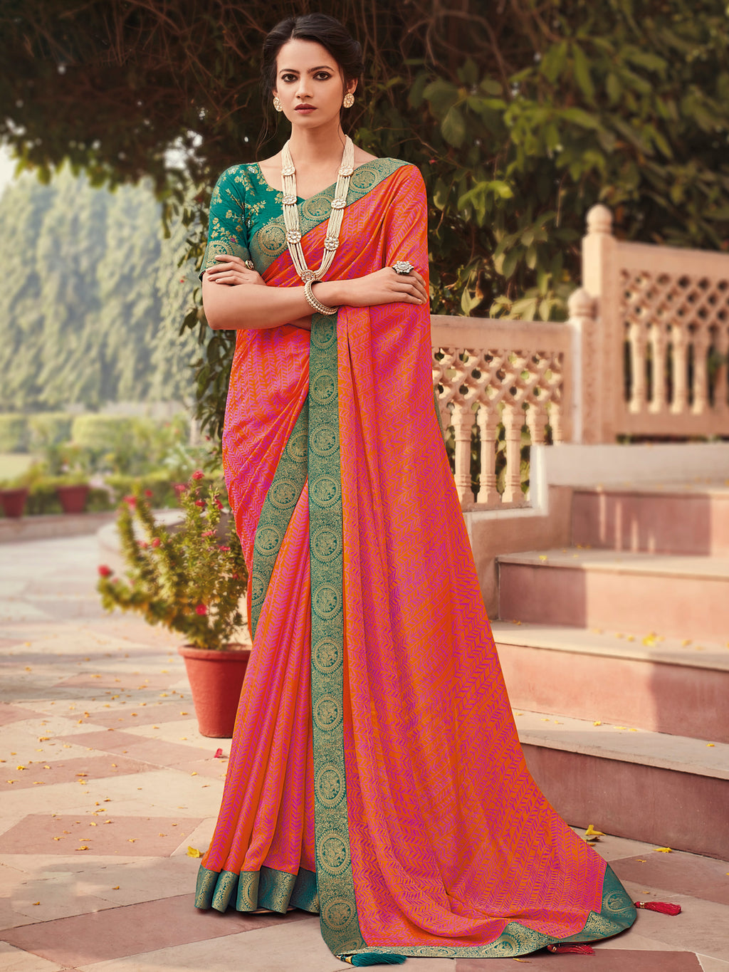 Pink & Orange Color Banarasi Silk Festival & Function Wear Sarees NYF-9782