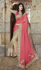 Golden & Pink Color Half Wrinkle Crepe & Half Raw Silk Wedding Function Sarees : Piyabavri Collection  YF-41677