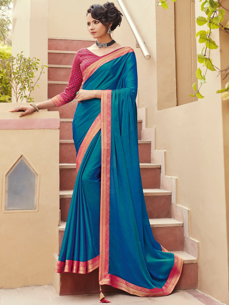 Blue Color Banarasi Silk Festival & Function Wear Sarees NYF-9783