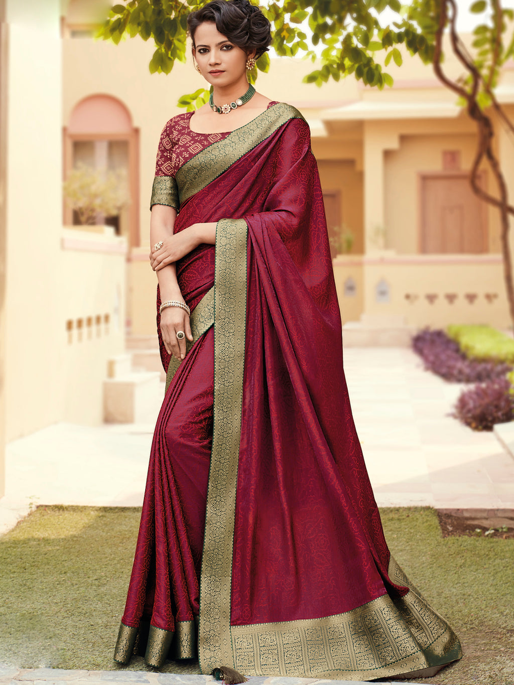 Maroon Color Banarasi Silk Festival & Function Wear Sarees NYF-9787