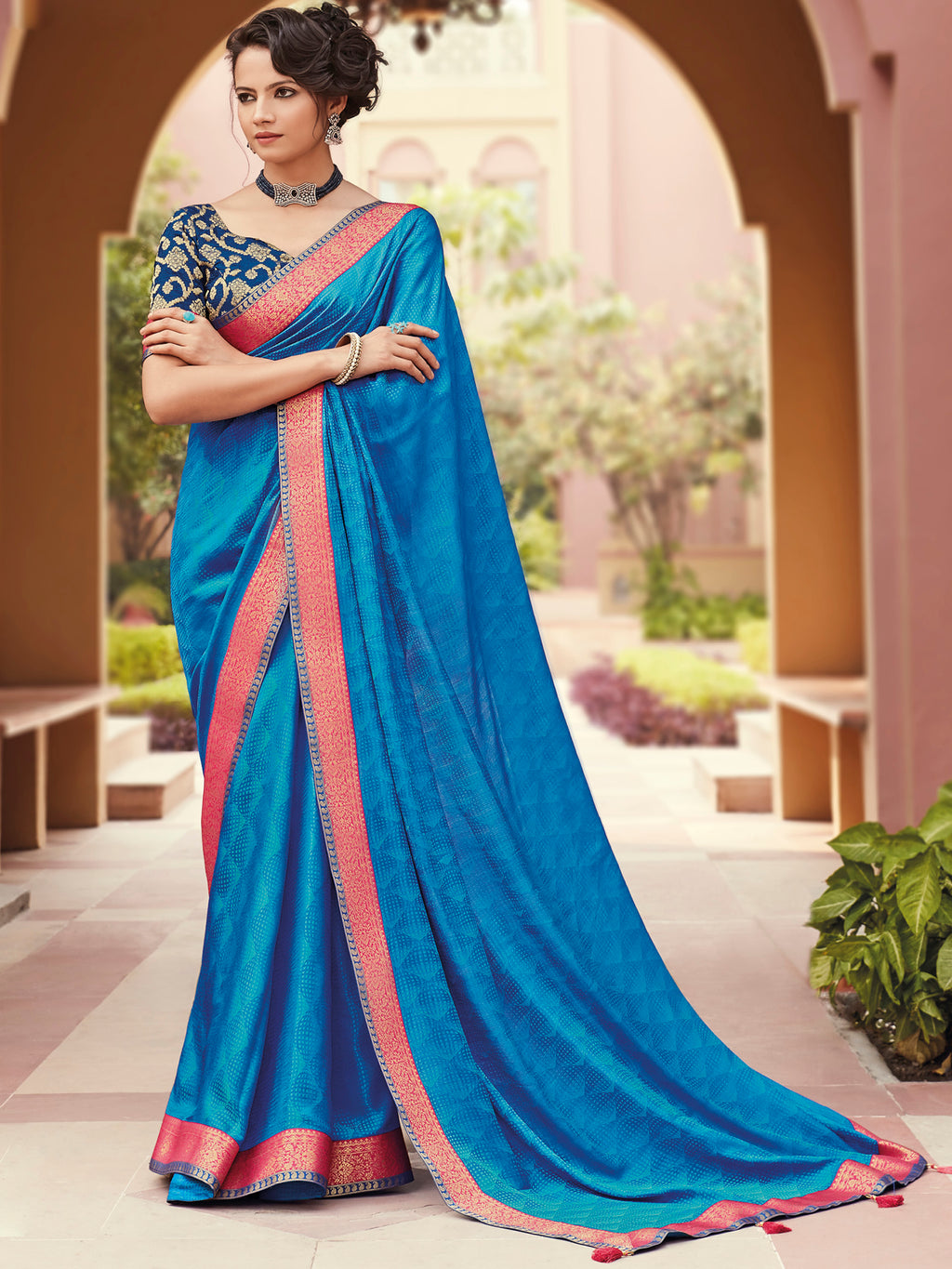 Blue Color Banarasi Silk Festival & Function Wear Sarees NYF-9788