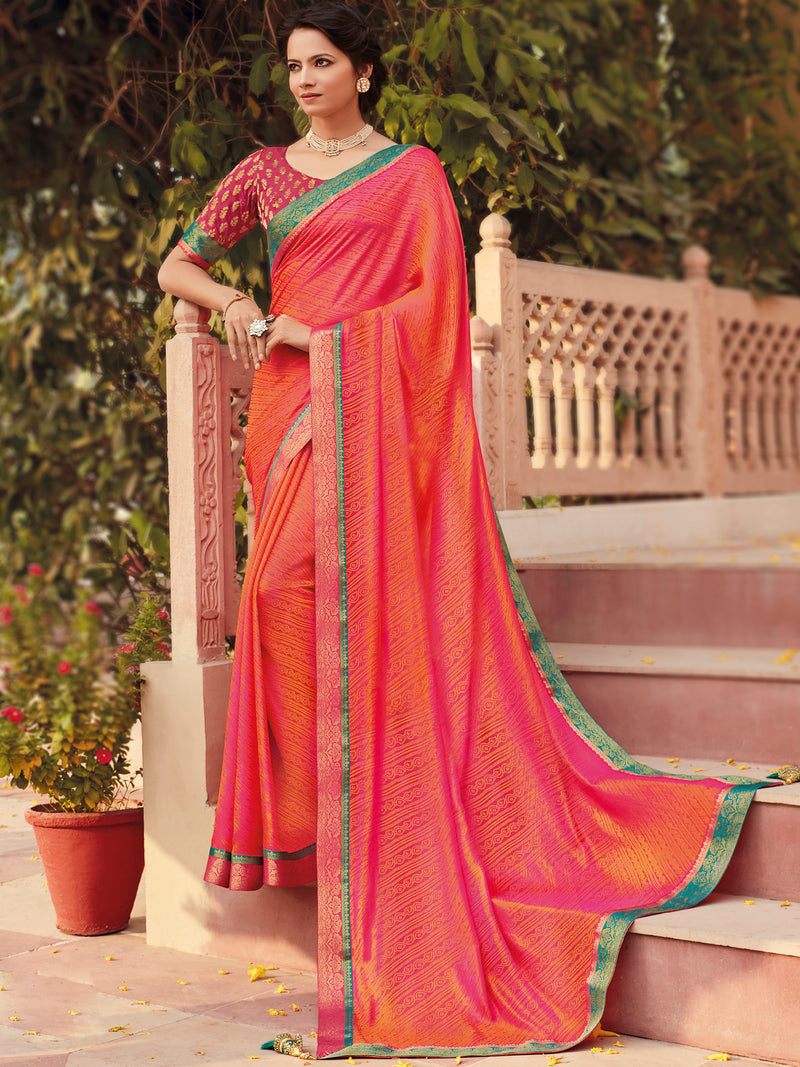 Orange & Pink Color Banarasi Silk Festival & Function Wear Sarees NYF-9789