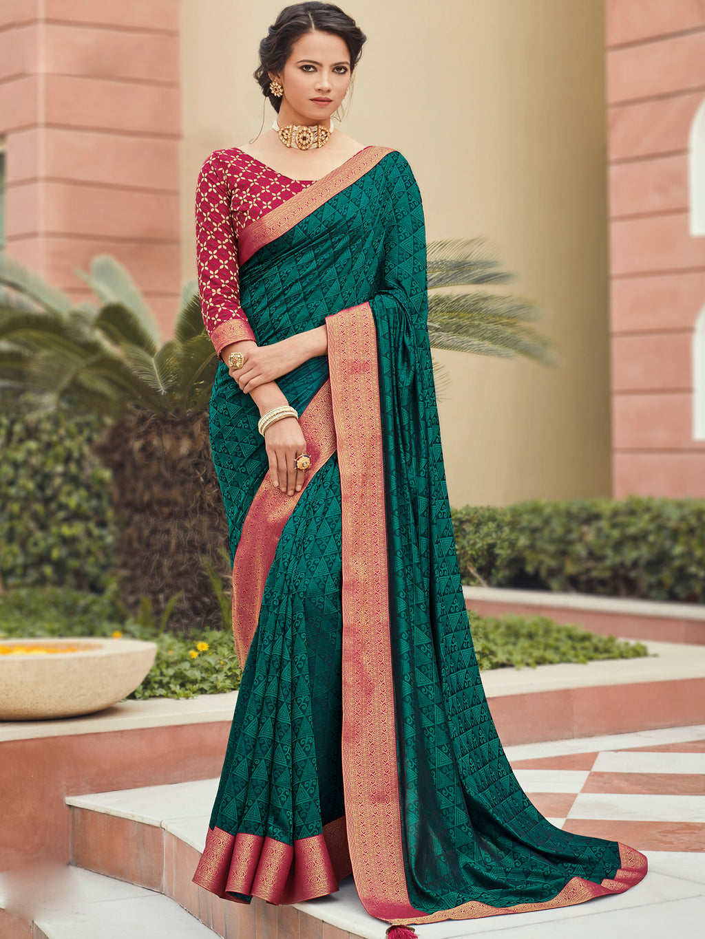 Green Color Banarasi Silk Festival & Function Wear Sarees NYF-9790