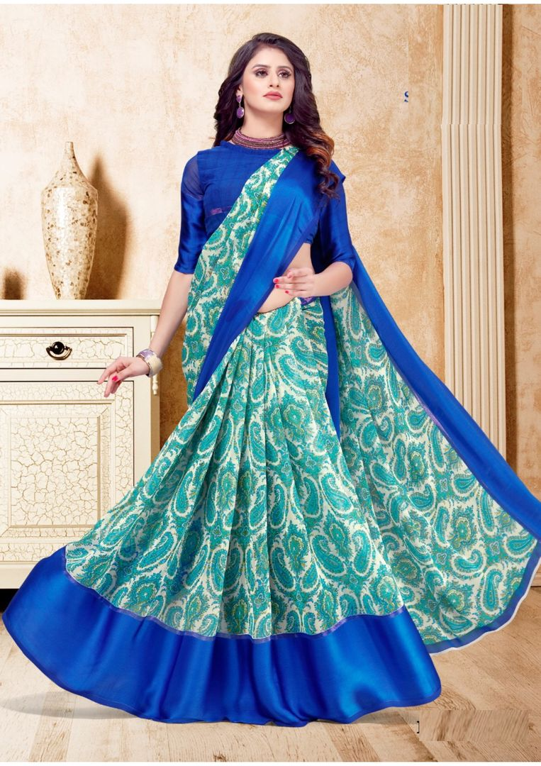 Blue & Sea Green Color Georgette Casual Printed Sarees NYF-3954 - YellowFashion.in