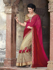 Pink, Red & Light Coffee Color Half Net & Half Georgette Wedding Function Sarees : Piyabavri Collection  YF-41680