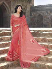 Pink Color Half Brasso & Half Net Wedding Function Sarees : Piyabavri Collection  YF-41682