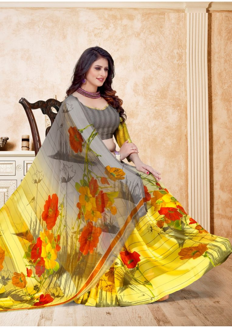 Grey & Yellow Color Chiffon Floral Print Sarees NYF-3958 - YellowFashion.in